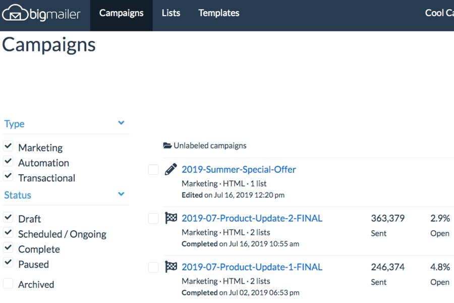 BigMailer screenshot: BigMailer campaigns screenshot
