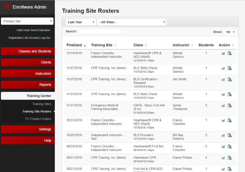 Enrollware managing rosters
