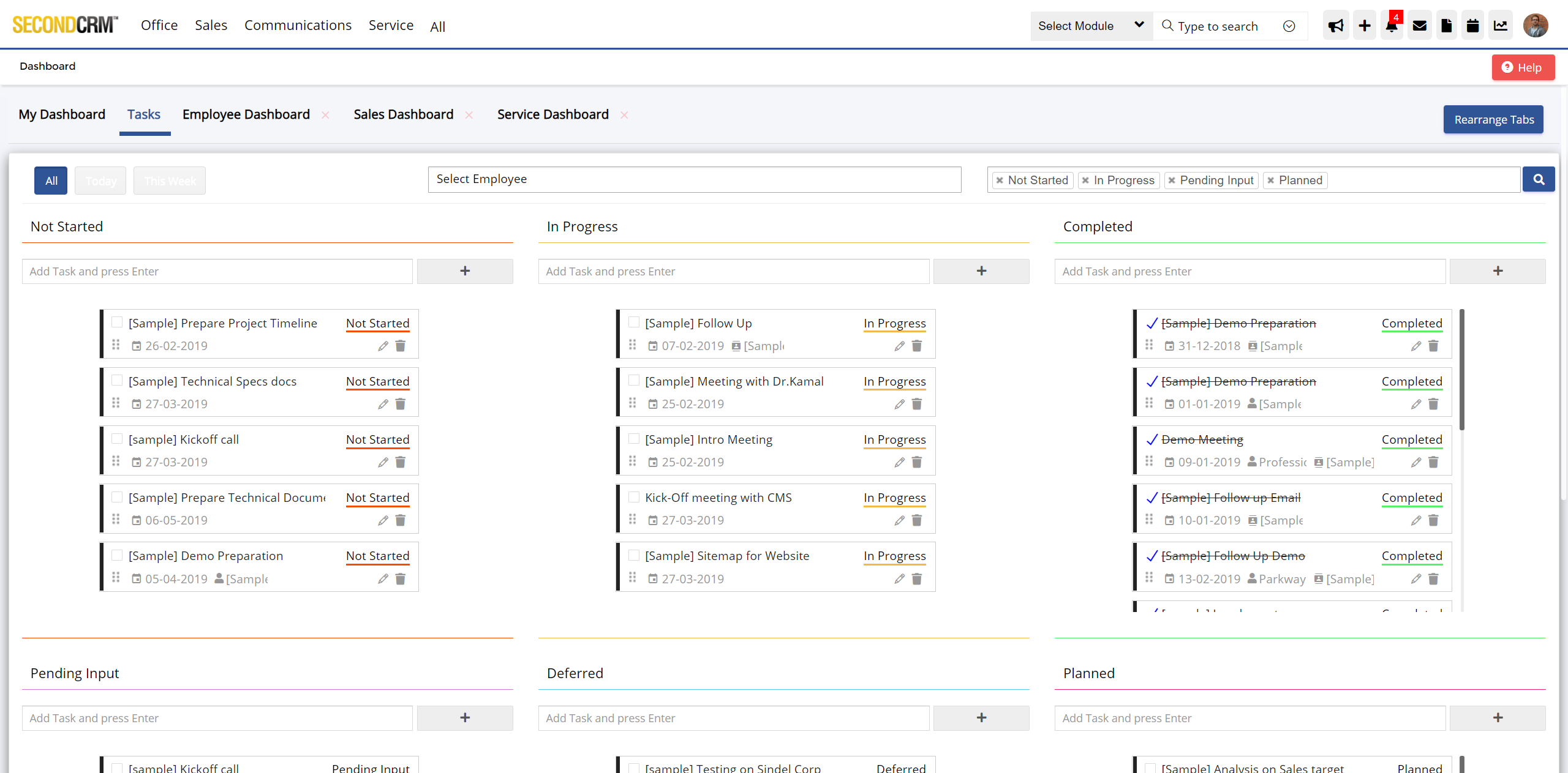 Task Dashboard visually depicts the tasks at various stages, with priority, effort and timescale and get timely notifications so that no customer request is left out.