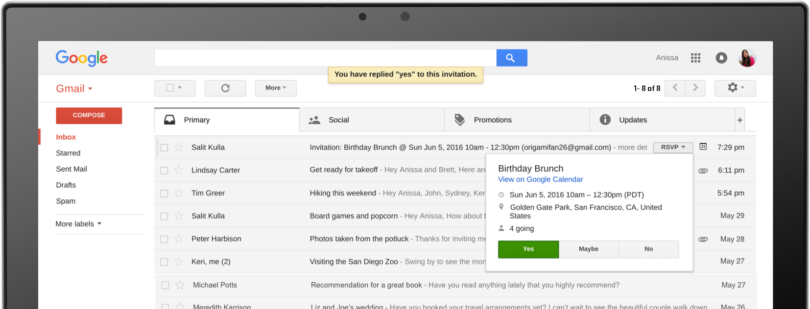 RSVP to event invites, track packages, review products, and more, without opening any emails