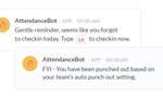 AttendanceBot screenshot: Employees get reminders to punch in and out as their day begins or ends