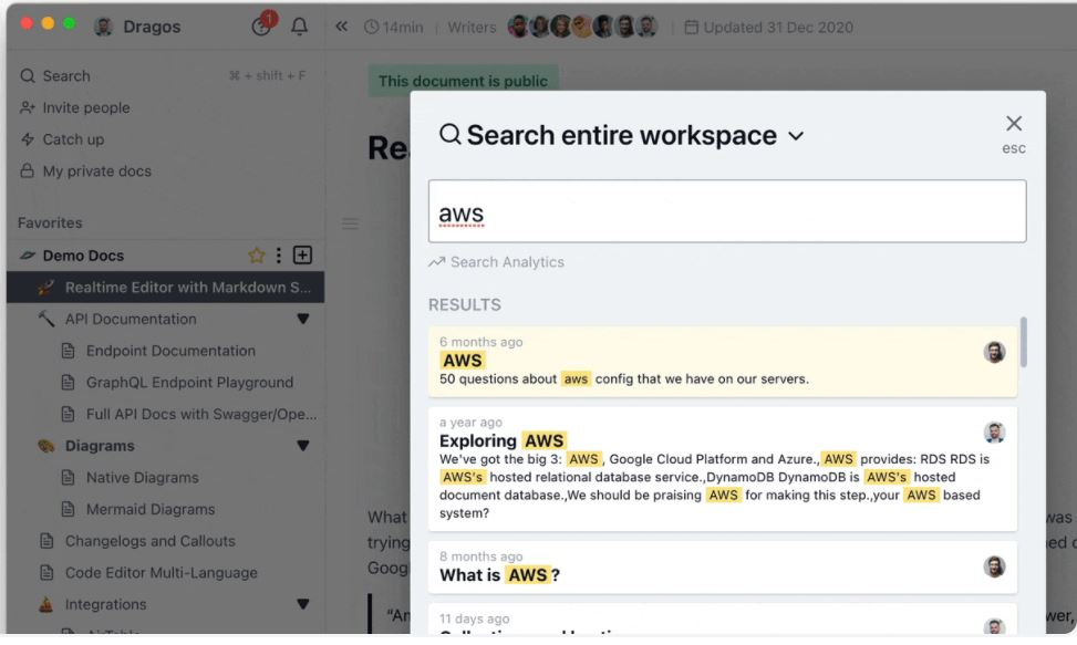 Archbee search functionality