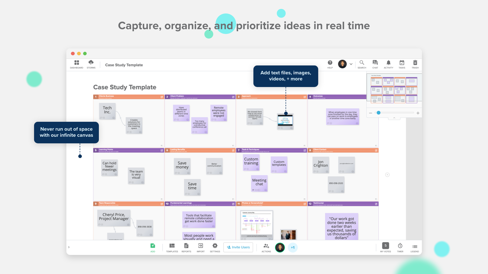 Capture, organize, and prioritize ideas in real time