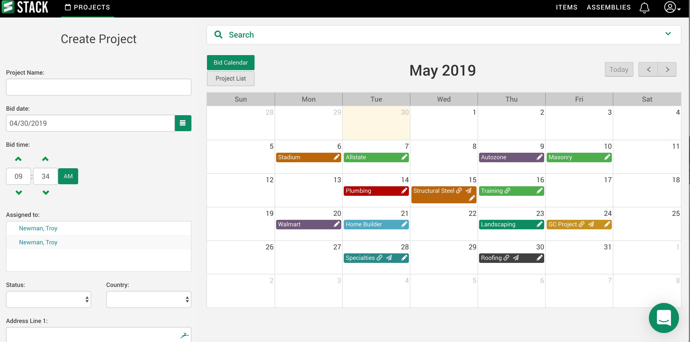 STACK Software - STACK bid calendar