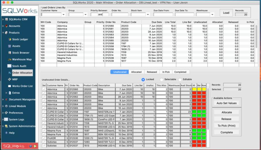 SQLWorks order allocation