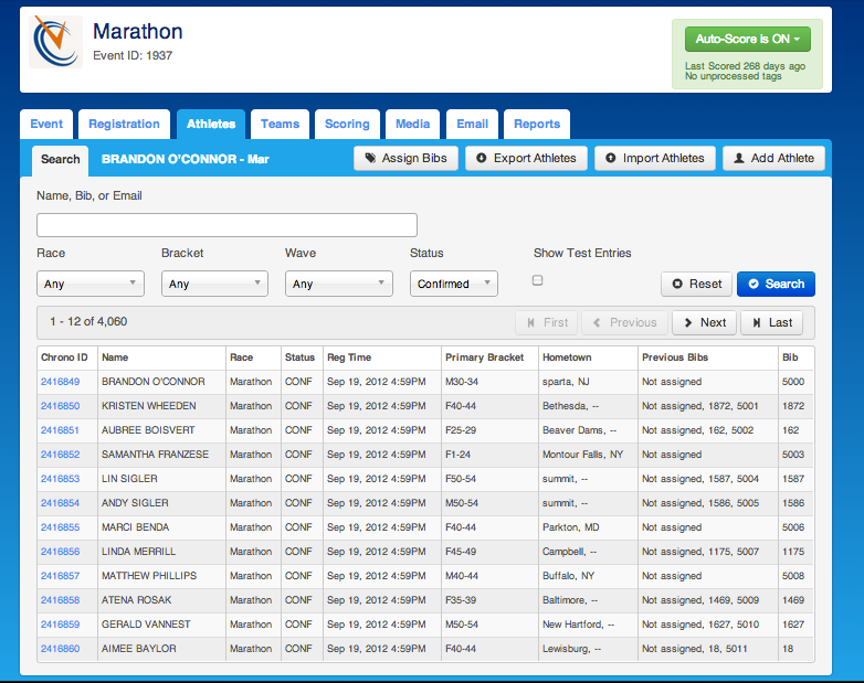 ChronoTrack Software - ChronoTrack showing athlete management tab