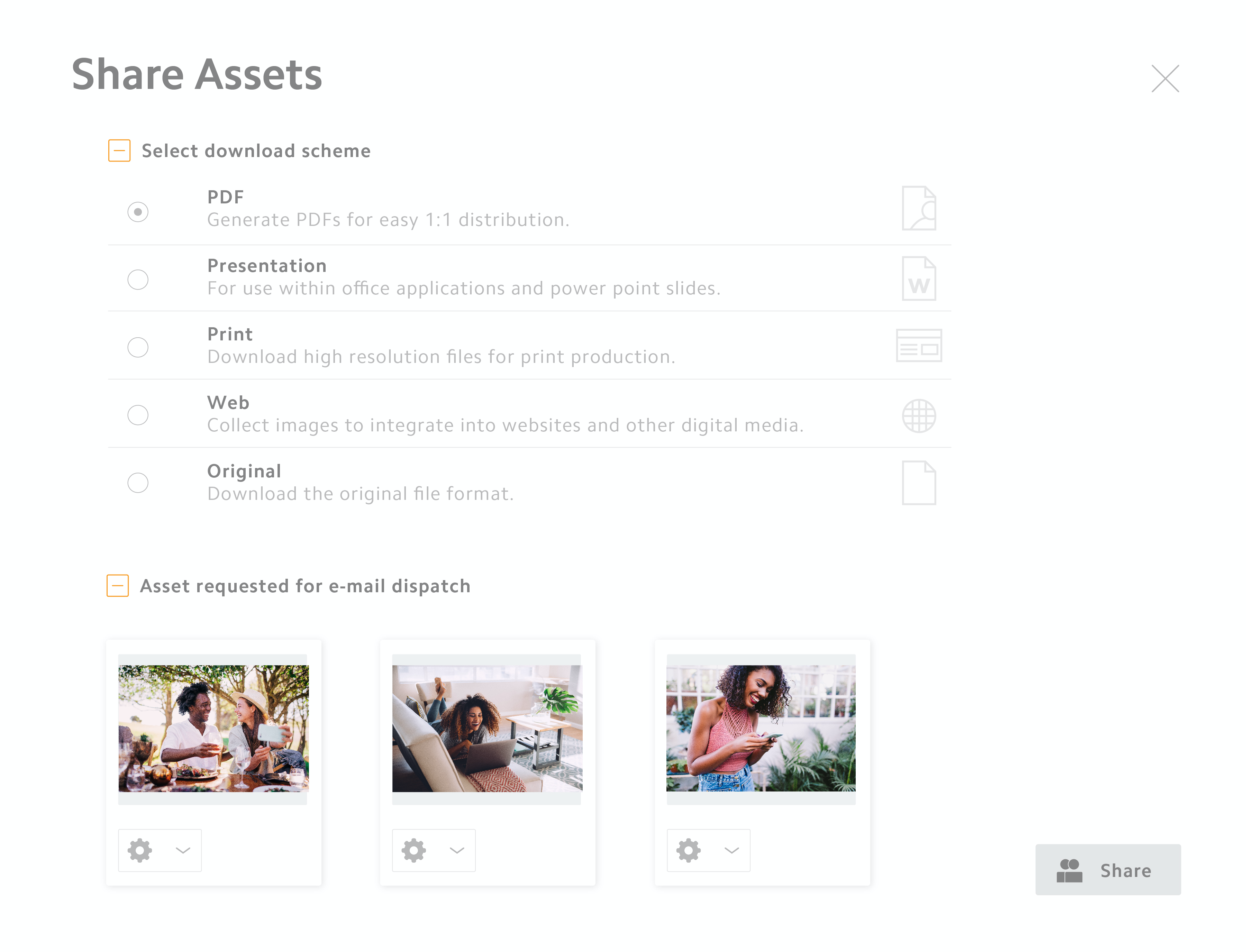 Share digital assets at the touch of a button with team members, customers and partners. The assets are automatically converted to the correct output format.