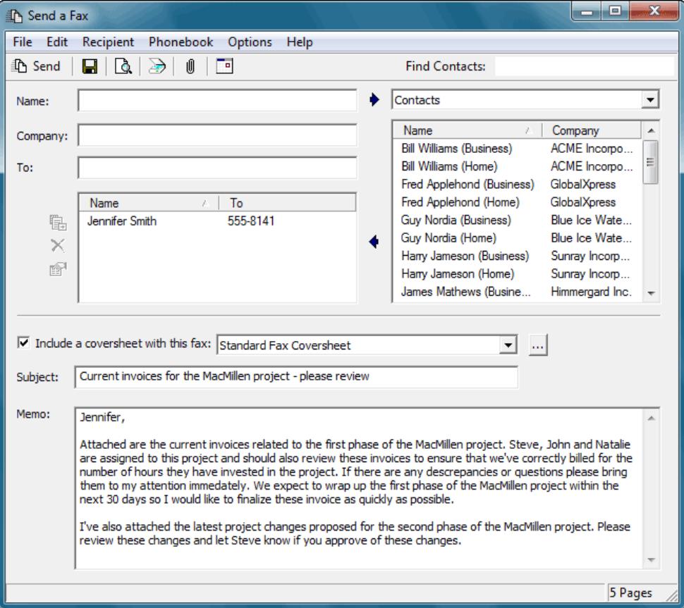 FaxTalk FaxCenter Pro send fax