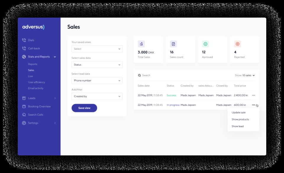 Adversus sales reports screenshot