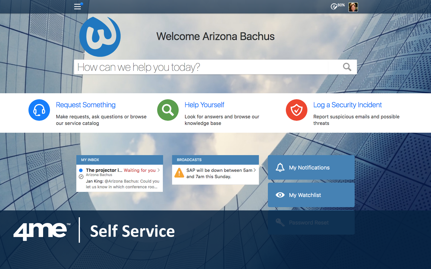 The look and feel of 4me Self Service can easily be customized to match any organization's corporate identity.