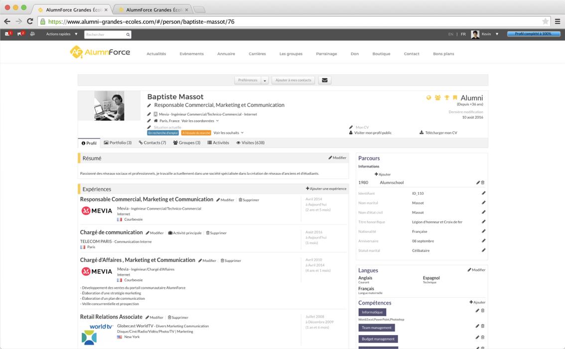 AlumnForce user profiles