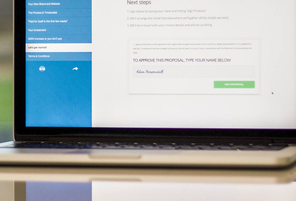 Send proposals for a secure and legal digital signature