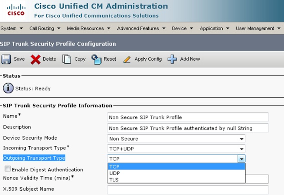 Cisco Unified Communications Manager SIP trunk security profile configuration