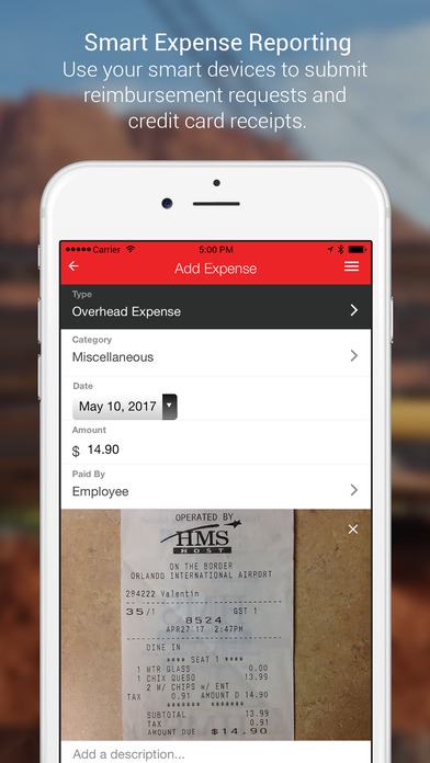 Use mobile devices to input expenses and reimbursement requests