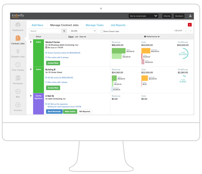 Accurately track POs, expenses and revenue per job.