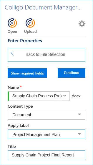 Colligo Document Manager for Microsoft 365 properties editing