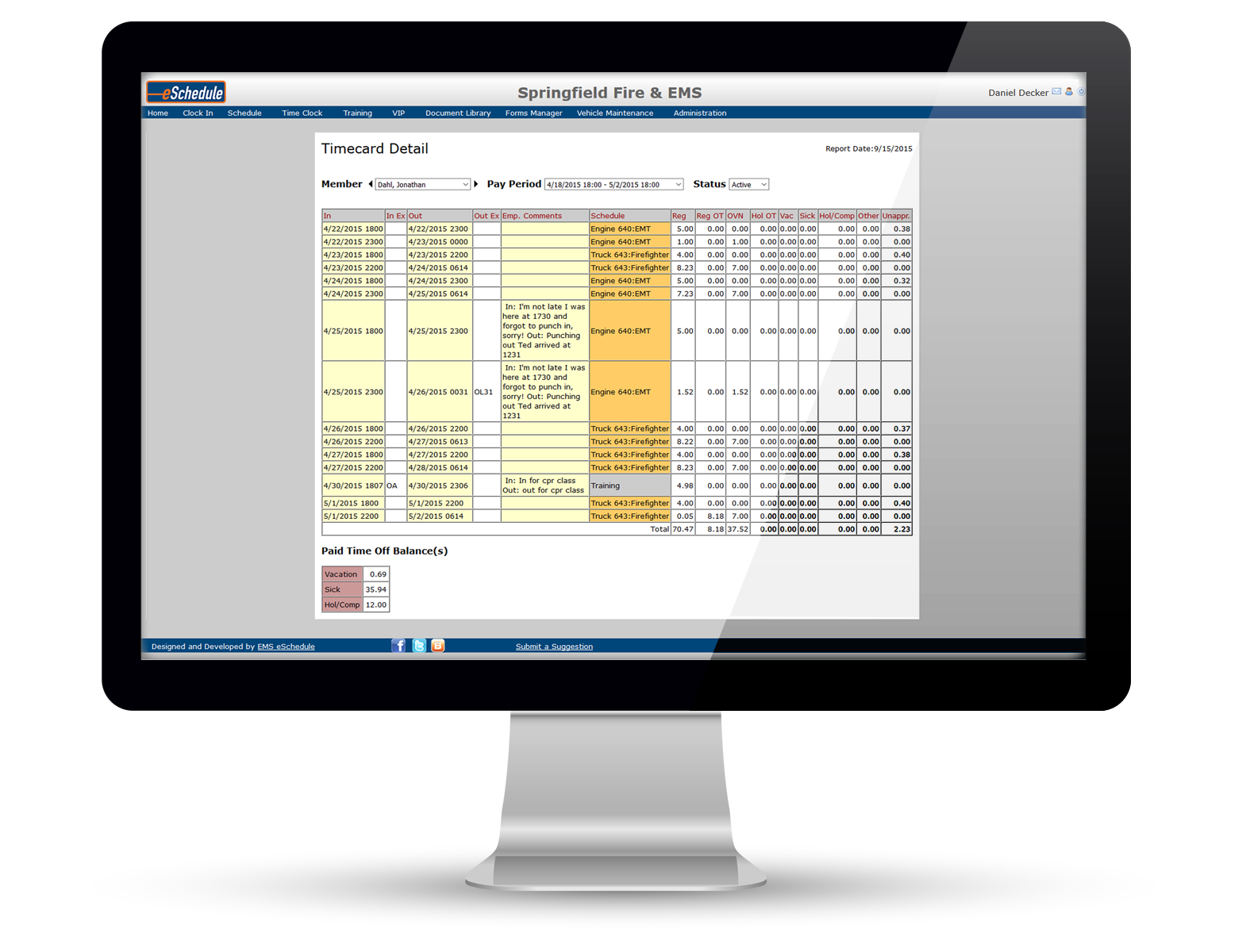 Manage timecards and export to payroll