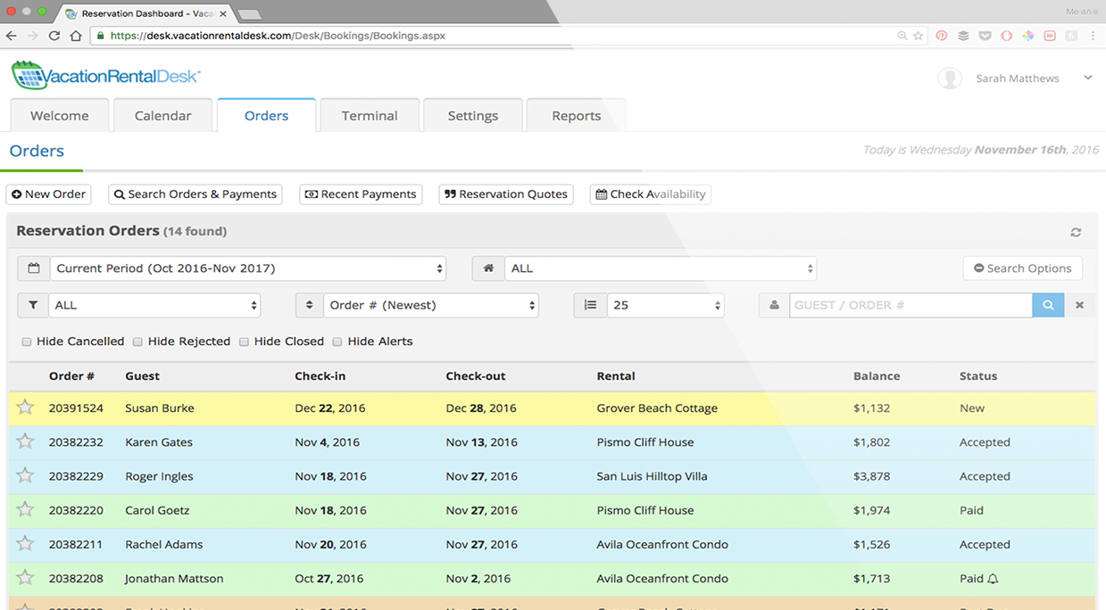 Vacation Rental Desk Software - Orders view