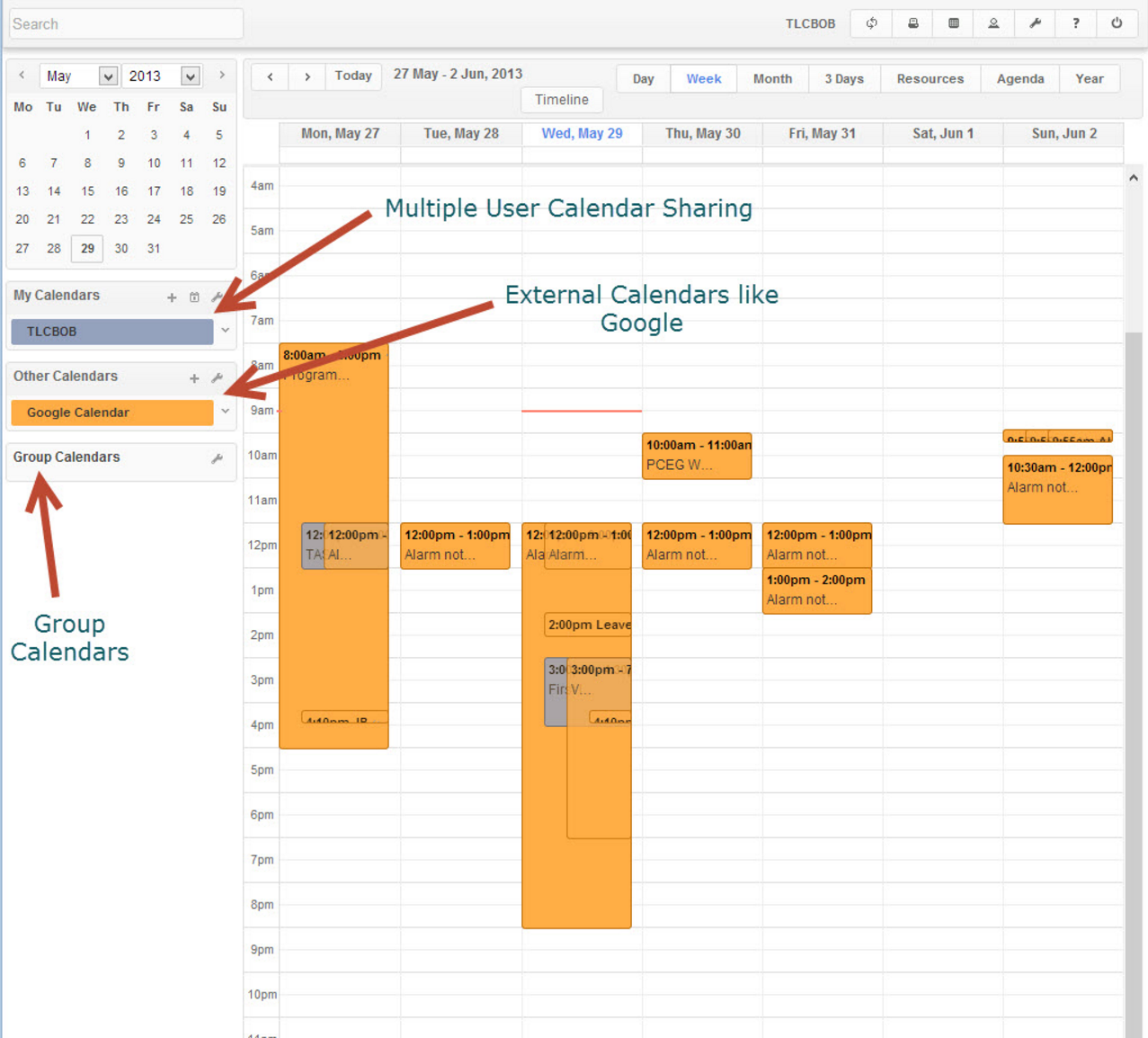 Smart calendar feature allows to view daily activity and appointments scheduled for users