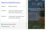 Dynamic Yield screenshot: Send push notifications to native app users based on segments and test their success