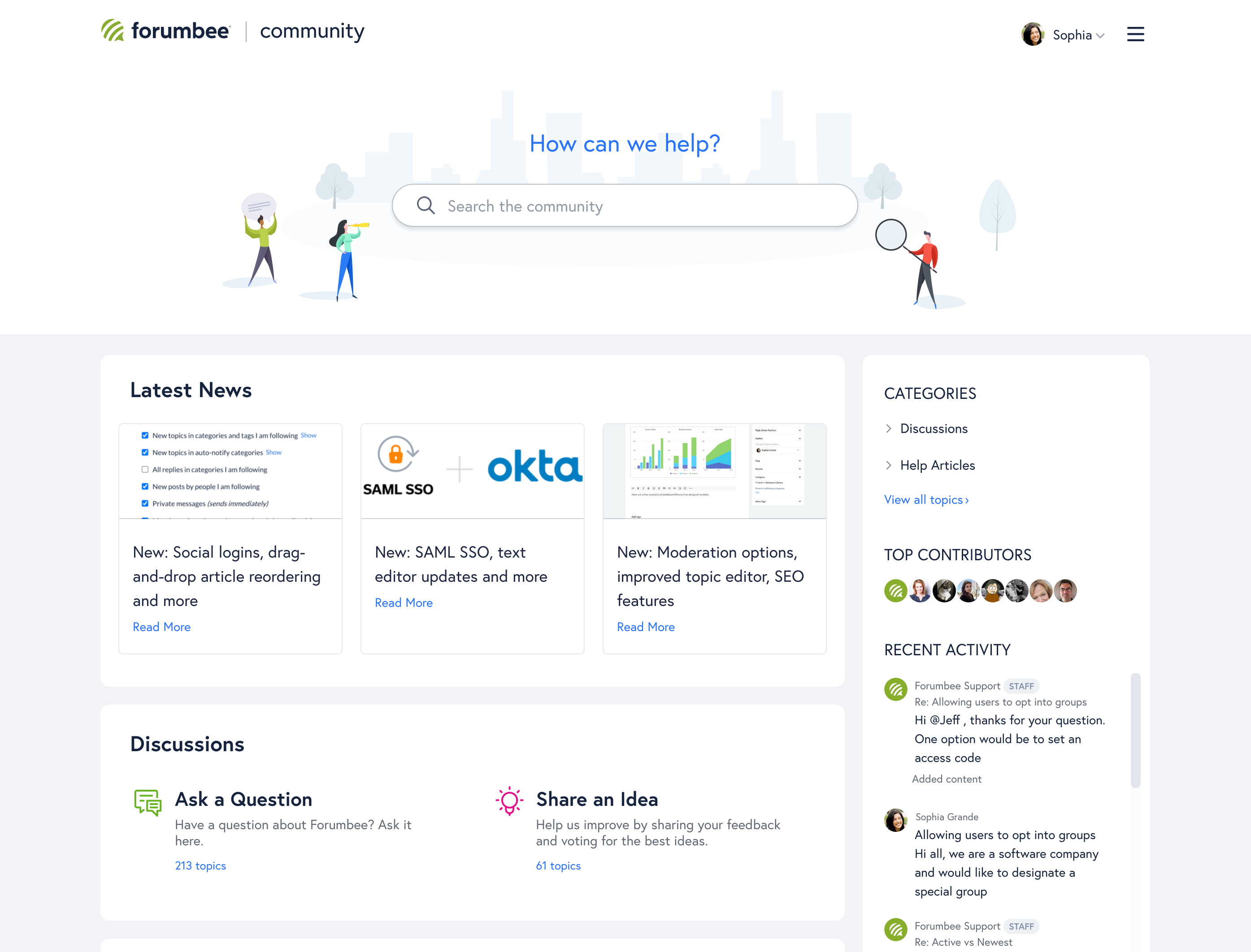 Forumbee Community and Knowledge Base home page
