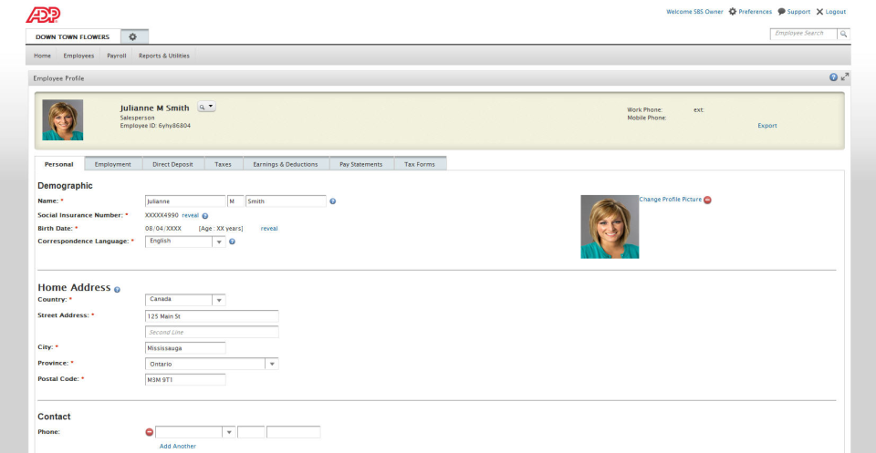 Access and edit employee profiles