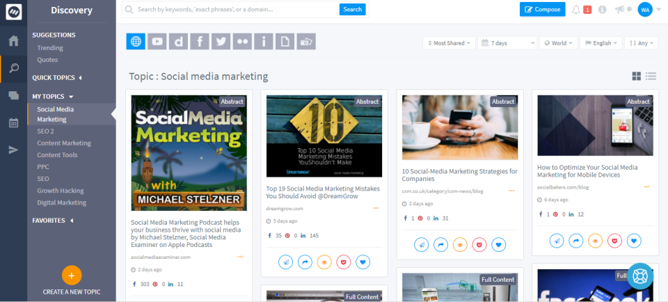 ContentStudio screenshot: Brands can track topics and trends relevant to their interests or industry