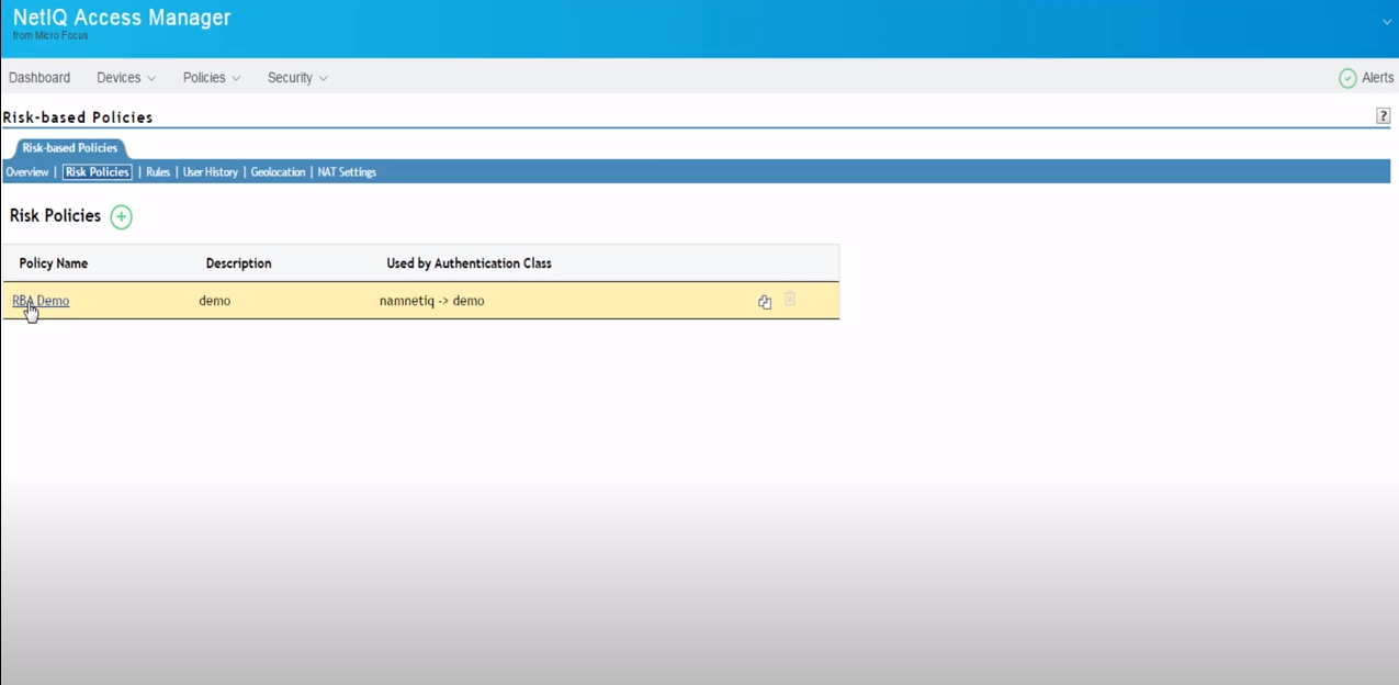 NetIQ Access Manager risk policies