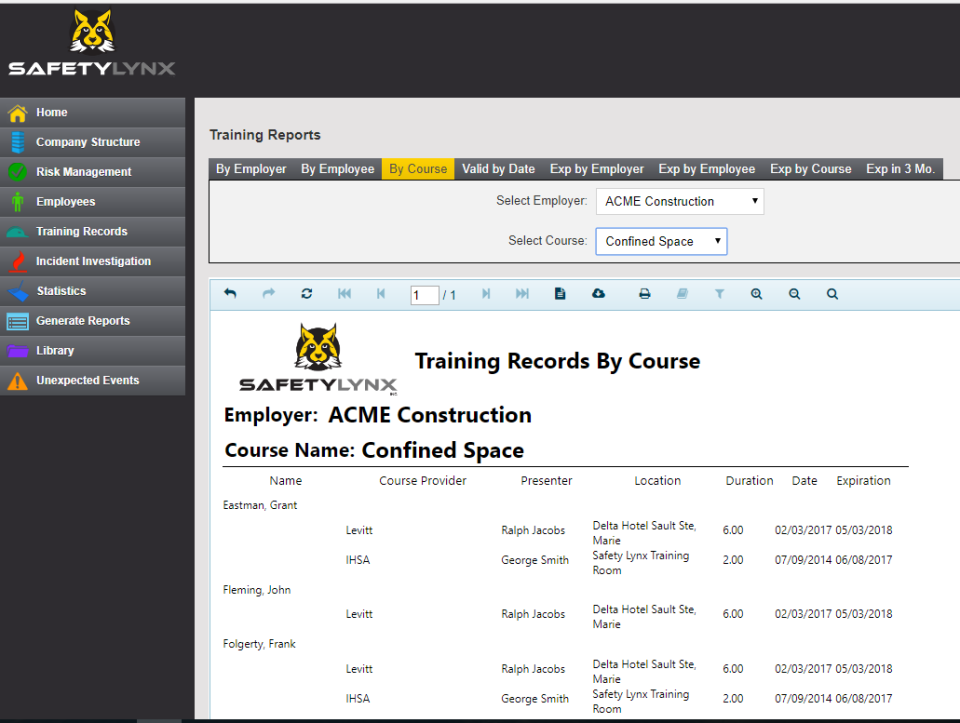 SafetyLynx Software - Training records