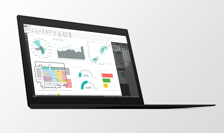 Microsoft Power BI Desktop shown on Thinkpad