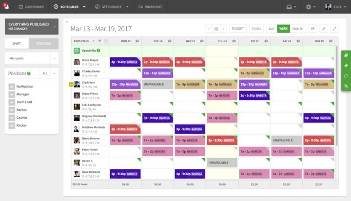 When I Work screenshot: Business owners spend way too much time on employee scheduling because they're stuck using programs like Excel, or even worse— a pencil and paper. Employee scheduling software can help you build your schedule for the week in as little as 15 minutes.