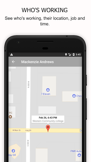 GPS functionality allows users to track the location of employees at all times
