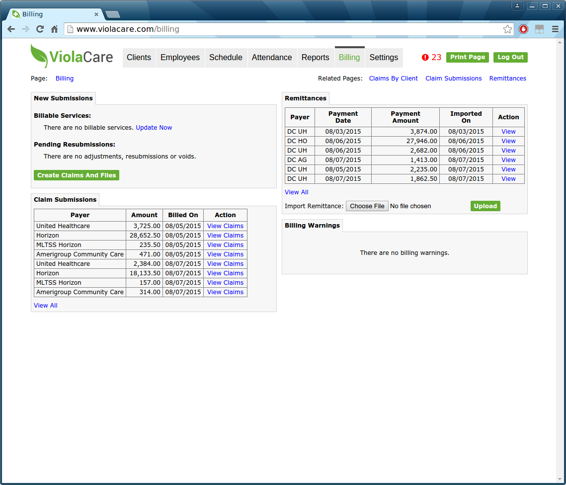ViolaCare Software - Billing