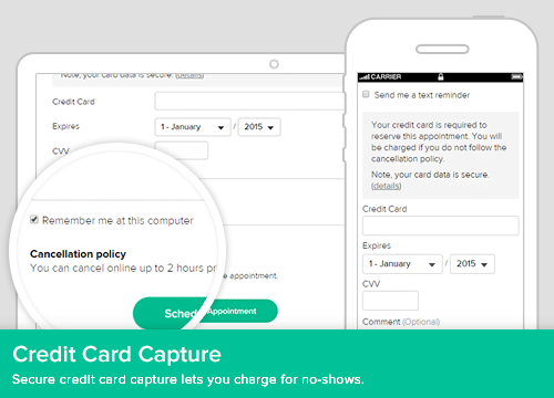 Credit card capture can be set up for all services or for individual services
