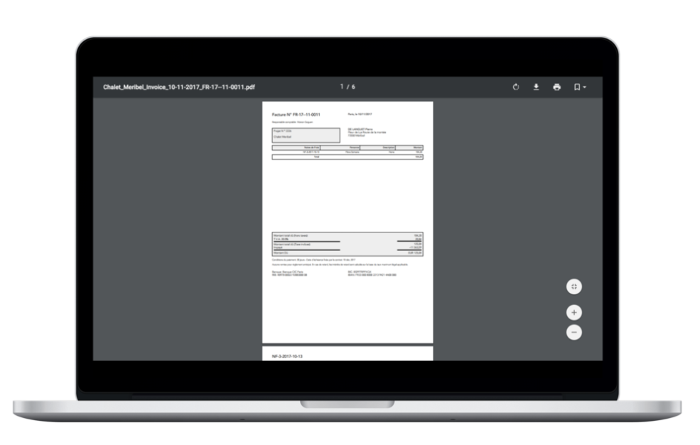 Generate and send invoices to clients. Users can customize their invoices with their company logo, name and colors