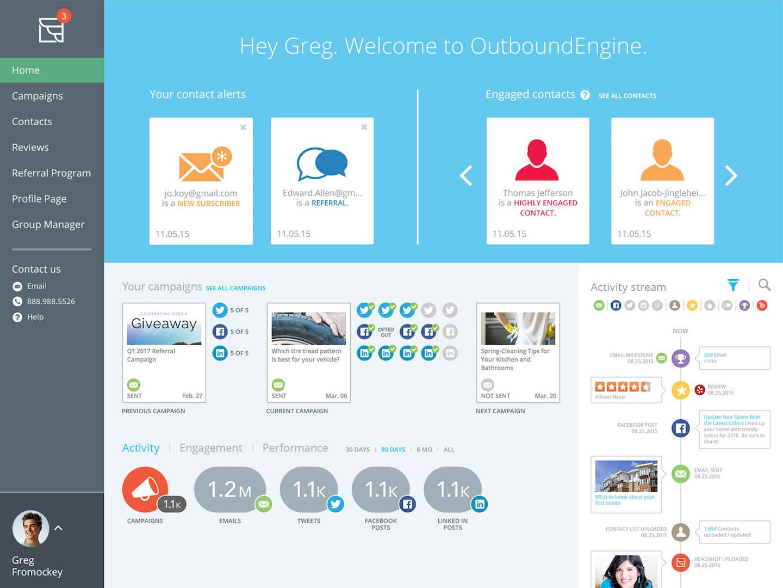 Dashboard home screen