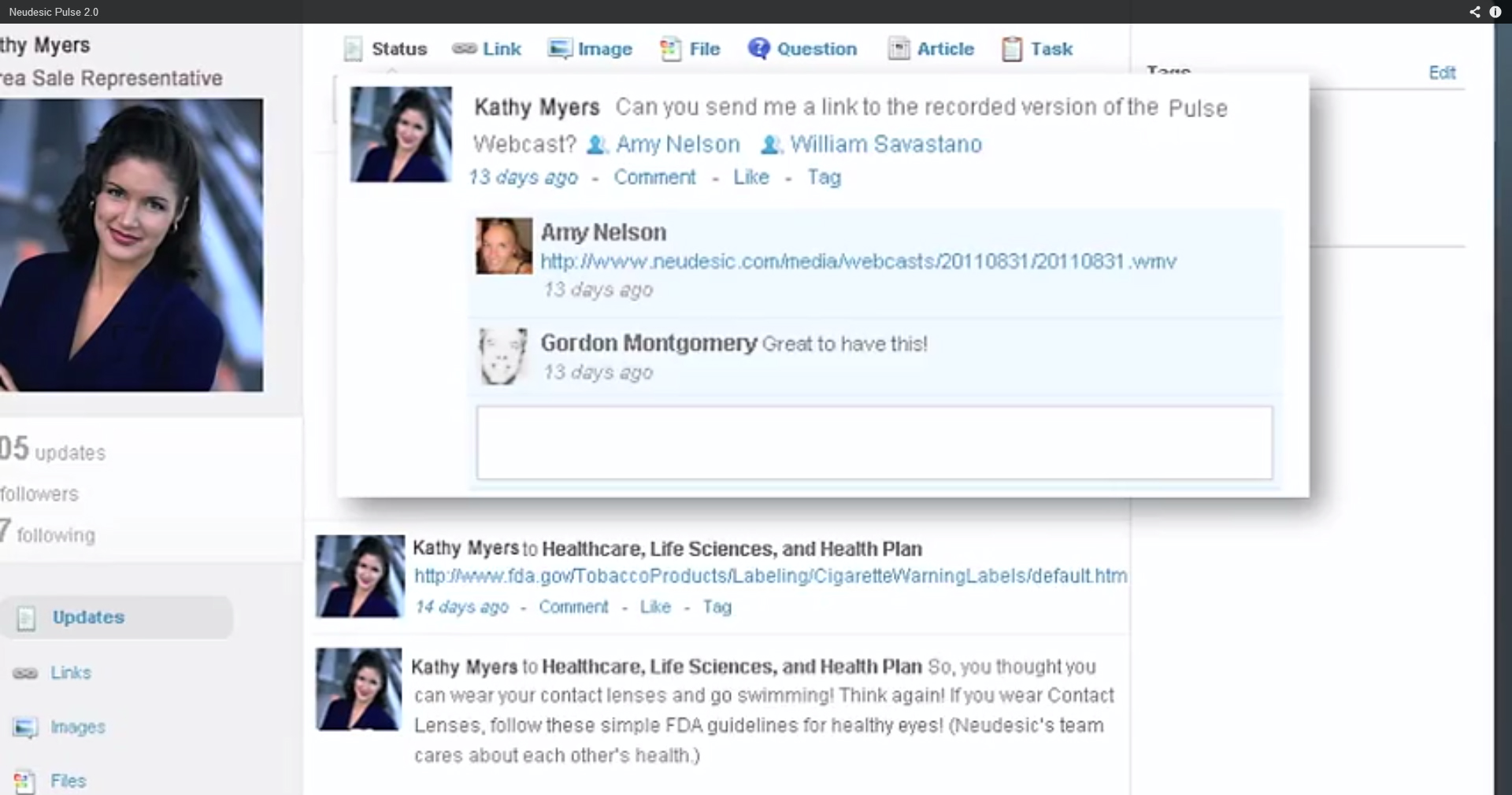 Neudesic Pulse screenshot: NeudesicPulse-EnterpriseSocialNetworking-Conversations