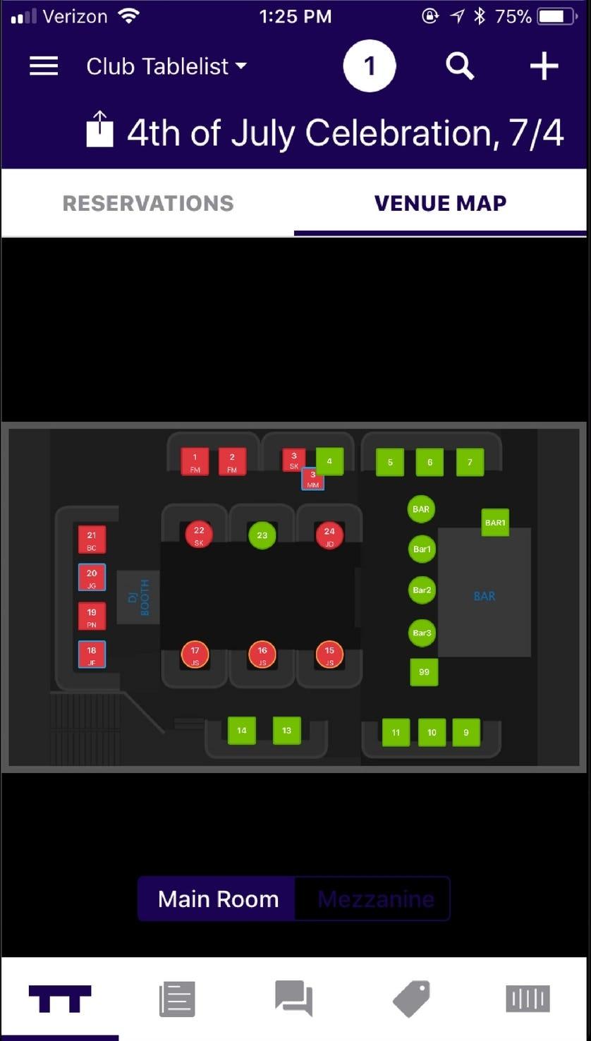 TableList Software - Venue map