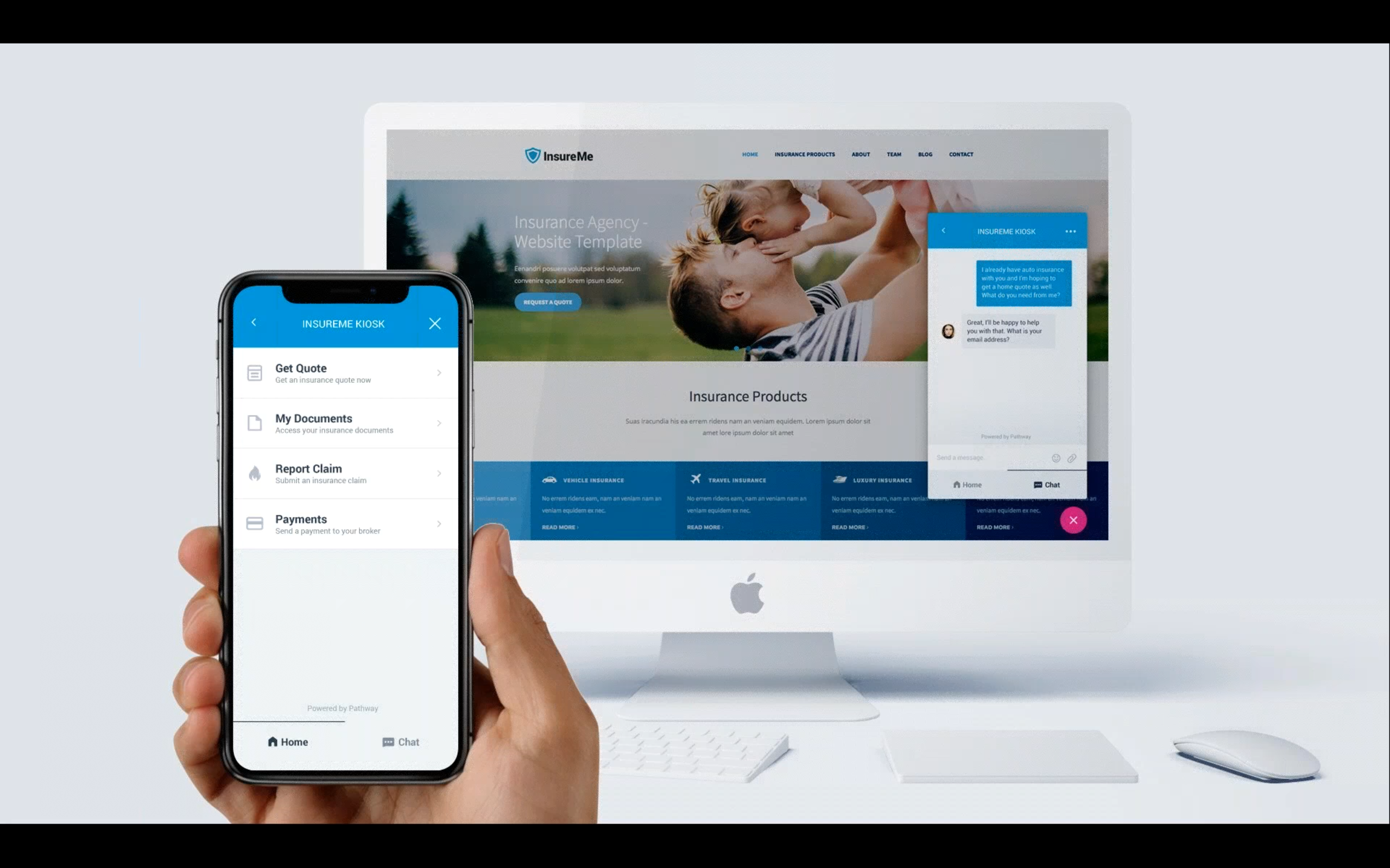 Self-Service Kiosk is a multi-channel communication tools that makes it convenient for policyholders to chat with your brokerage, access policy documents, file an auto claim, and make a payment.