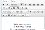 InviteReferrals screenshot: Use the WYSIWYG editor to design referral campaigns easily online