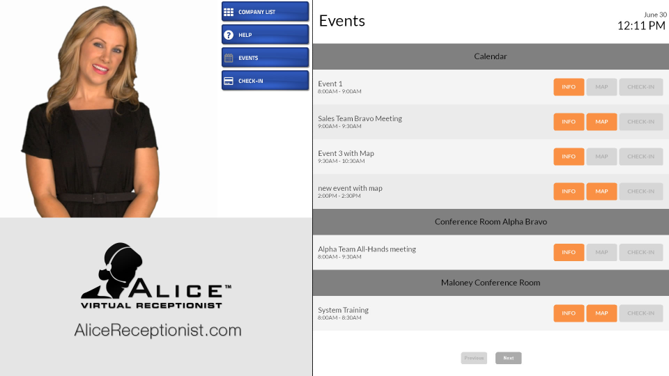 The calendar tool allows both employees and visitors to view upcoming events