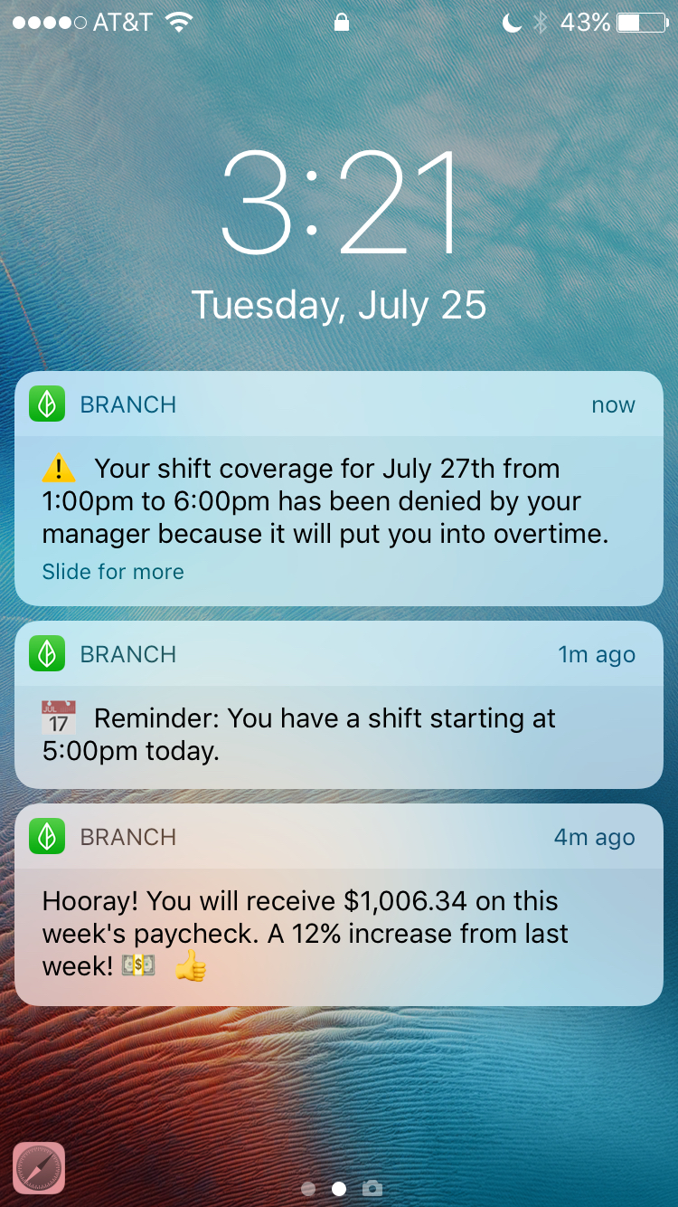 Branch - Mobile view