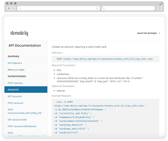Users can customize the look and feel of Donately on their site thanks to an open API