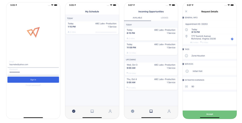The companion Workpath mobile app shown on iOS, detailing the Sign In screen, plus the My Schedule, Incoming Opportunities and Request Details tabs