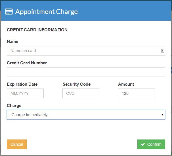 IntakeQ's credit card processing module that is integrated with appointments