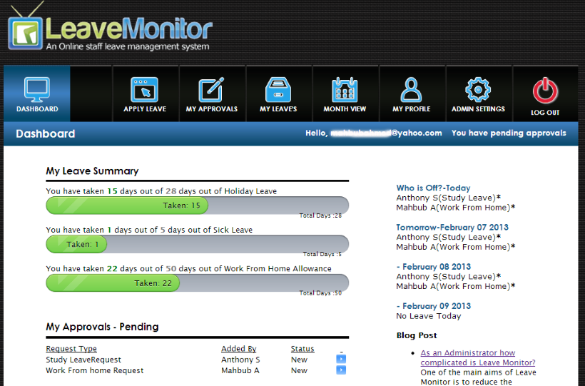 LeaveMonitor Software - Dashboards