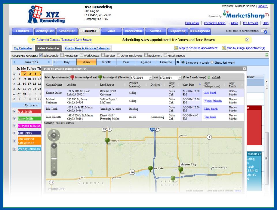 MarketSharp sales appt. routing