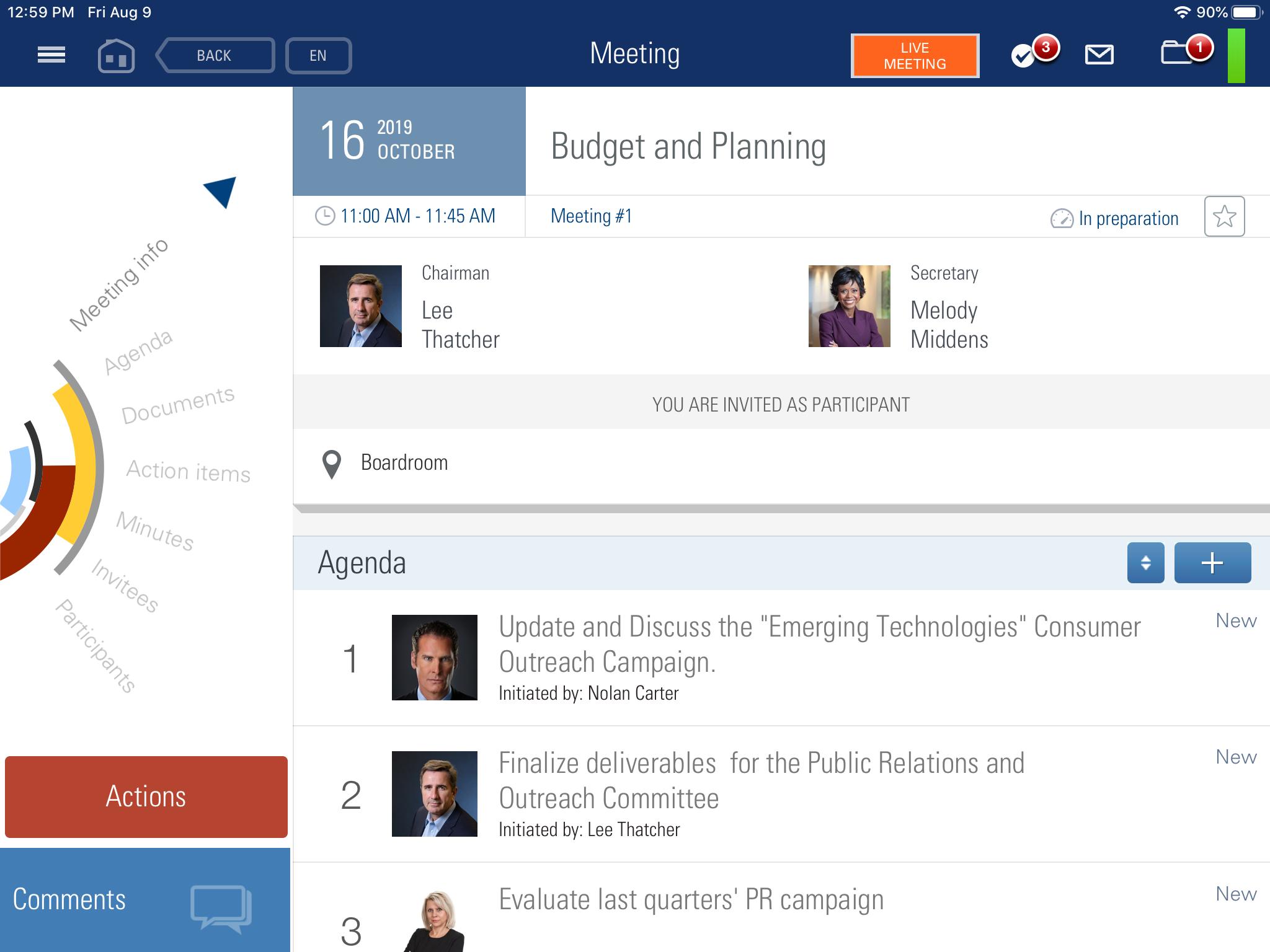 BoardMaps Software - BoardMaps budget and planning screenshot