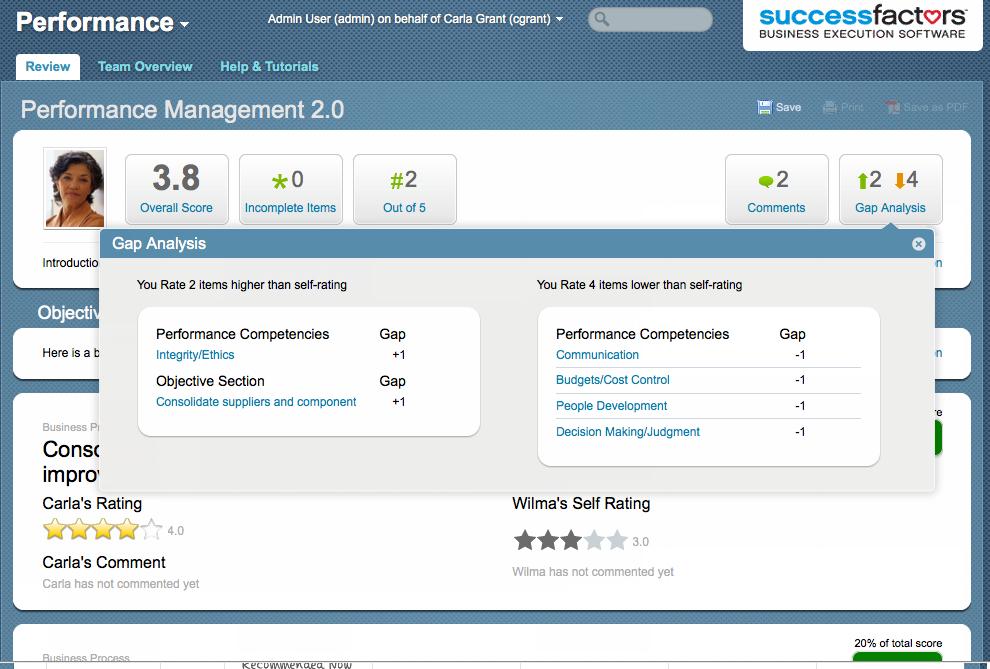 SAP SuccessFactors HCM Suite Software - SuccessFactors gap analysis review