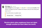 PTO by Roots screenshot: PTO Ninja inspects time off history for signs of burnout. When employees have not taken enough vacation (or have taken too much), PTO Ninja notifies managers and employees automatically.